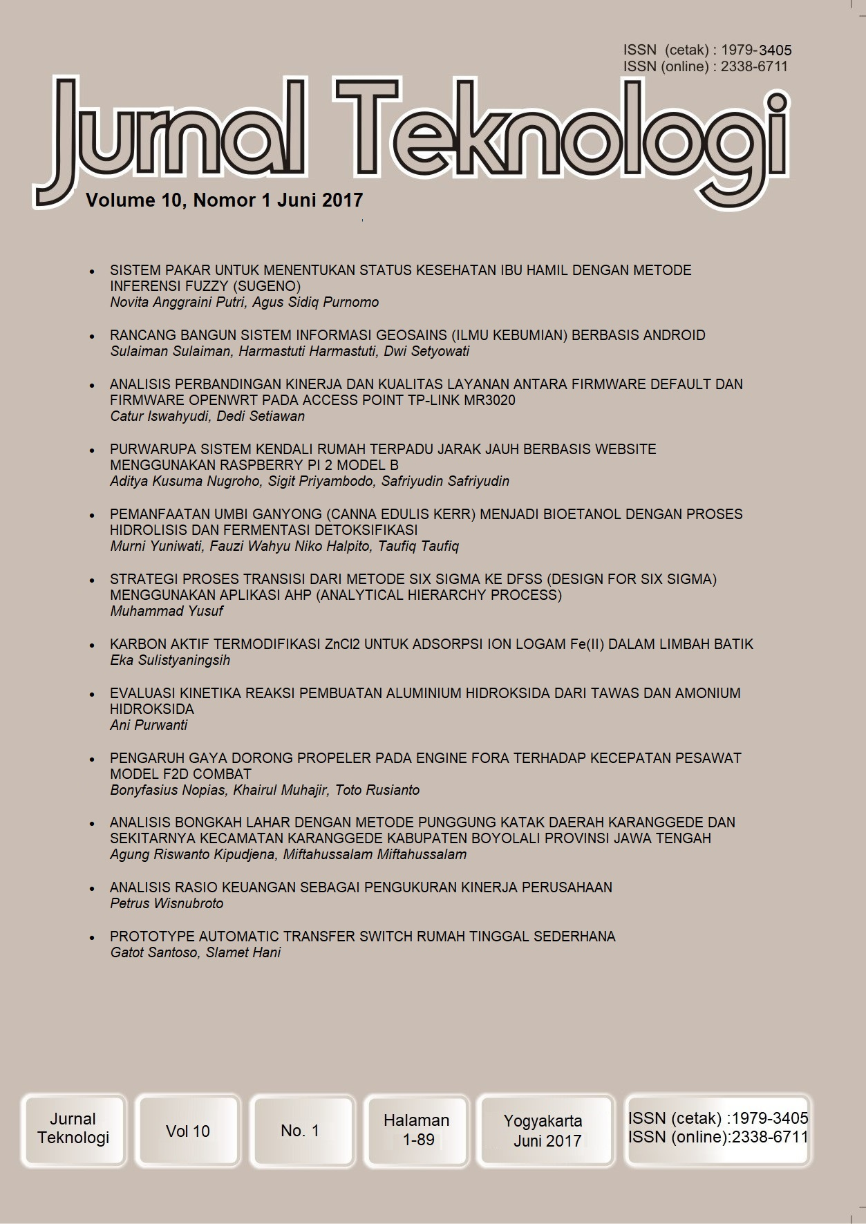 Jurnal Teknologi Volume 10 Nomor 1 Juni 2017