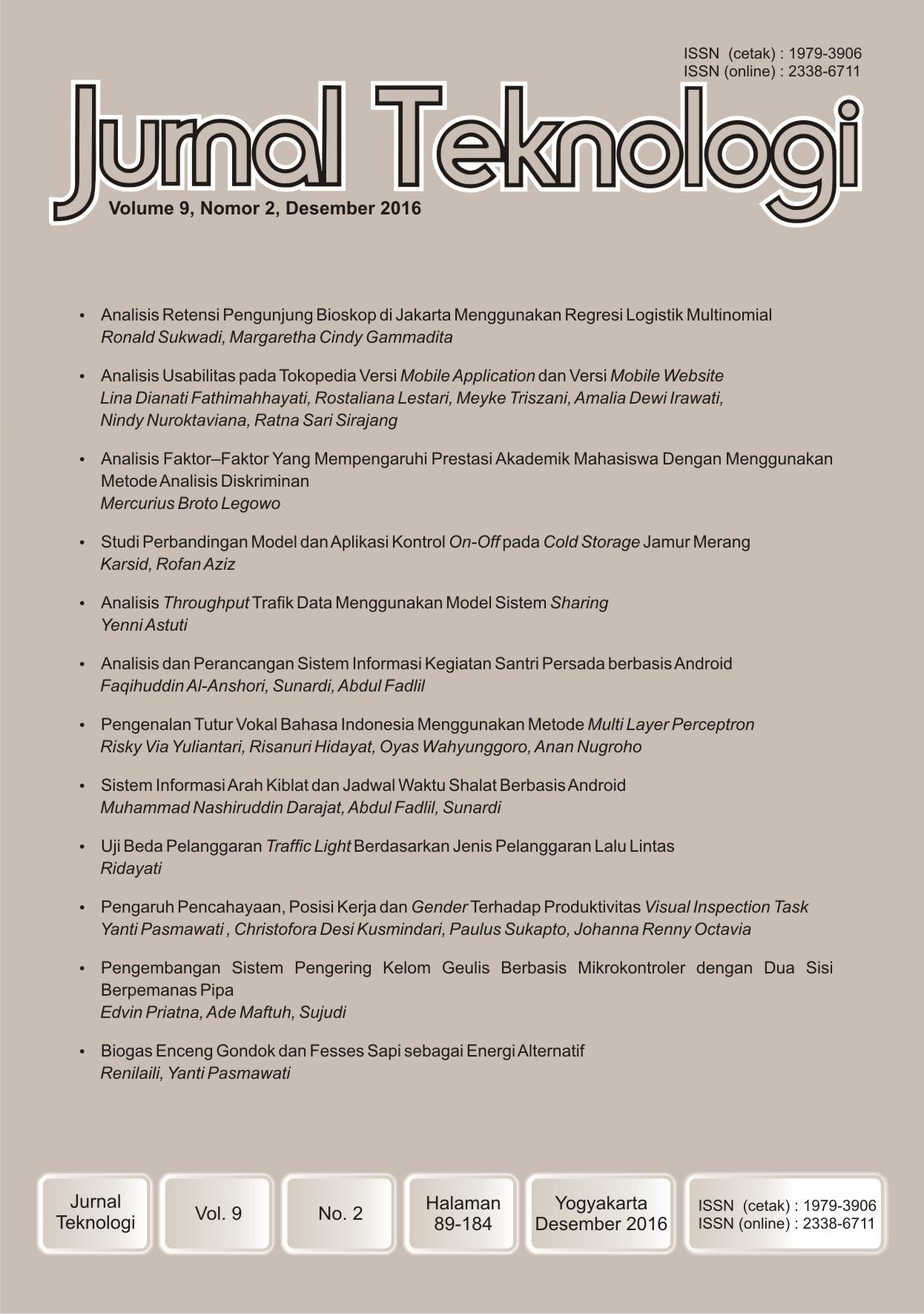 Jurnal Teknologi Volume 9 Nomor 2 Desember 2016